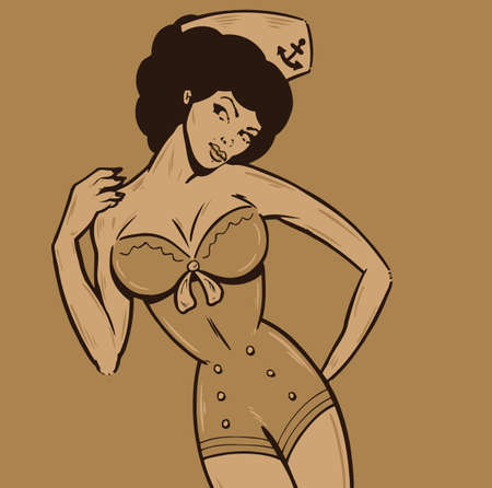 marinero: Vintage estilo femenino en un modelo uniforme de marinero. Todas las partes son editables