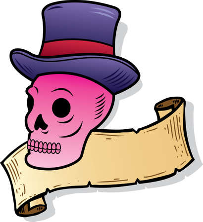Skull wearing a top hat tattoo style illustration. Vector format, fully editable Vector