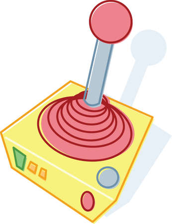 game console: Retro style toy joystick illustration. Vector format