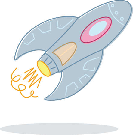 Retro style toy rocket illustration. Vector format Vector