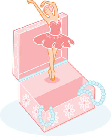 Cute ballerina jewelry box illustration. Fully editable