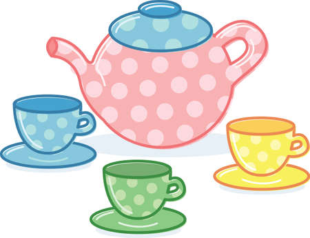 Cute classic style tea pot and cups illustration. Fully editable Vector
