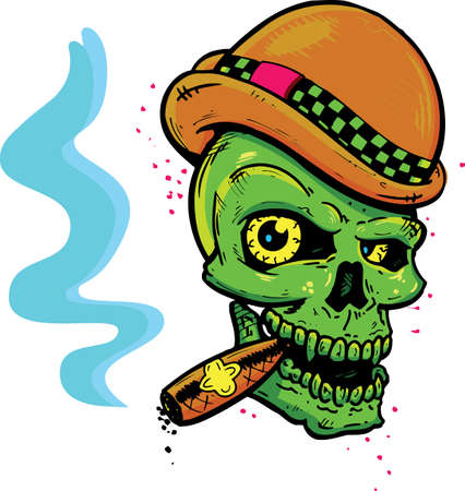 Punk tattoo style skull with wings smoking a cigar vector illustration. Fully editable Vector