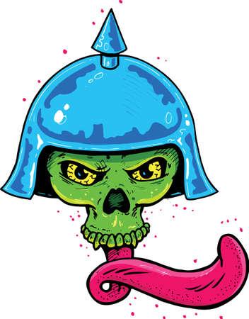 lengua larga: Tatuaje estilo punk cr�neo con casco y largo lengua ilustraci�n vectorial. Totalmente editable