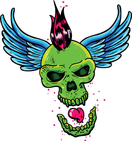 Punk tattoo style skull with wings vector illustration. Fully editable Illustration