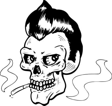 rotten: Rock and Roll style skull vector illustration. Fully editable