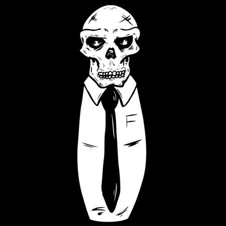 rot: Skull wearing a suit and tie vector illustration. Fully editable