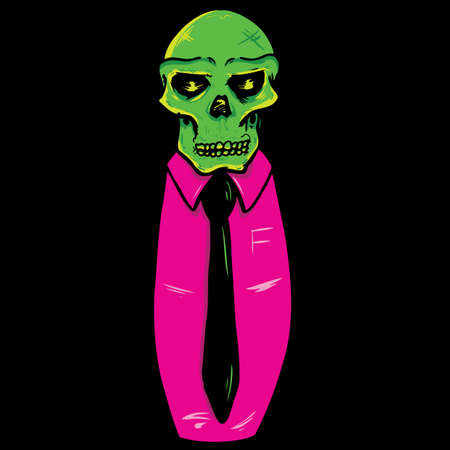 Skull wearing a suit and tie vector illustration. Fully editable Vector