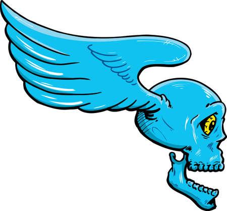 Flying skull with wings vector illustration. Fully editable Vector