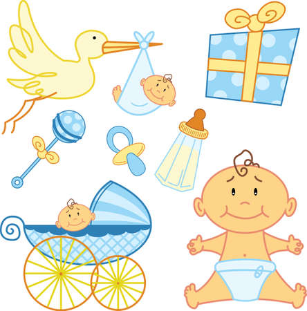 fully editable: Cute New born baby graphic elements. Vector format, fully editable