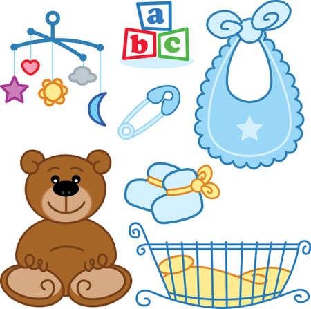 Cute beb� reci�n nacido juguetes elementos gr�ficos. Formato vectorial Foto de archivo - 5127473