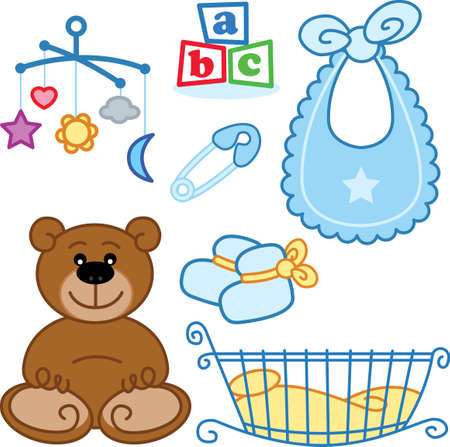 Cute bebé recién nacido juguetes elementos gráficos. Formato vectorial Foto de archivo - 5127473