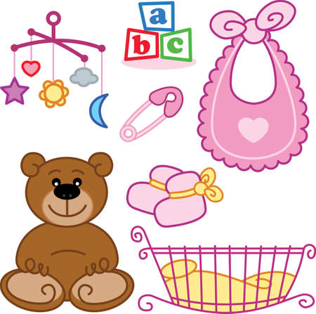 Cute New born girl toys graphic elements. Vector format fully editable
