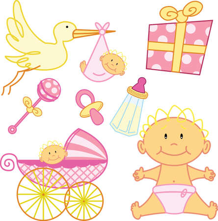 Cute New born baby girl graphic elements. Vector format fully editable