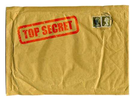 classified: Large brown envelope with Top Secret stamped on it in red ink and clear space for text