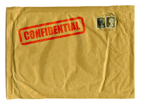 Large brown envelope with Confidential stamped on it in red ink and clear space for text photo