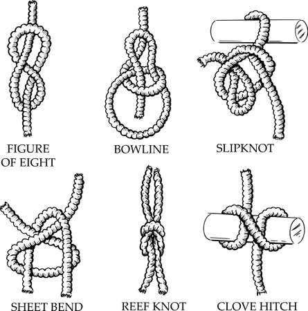 eight: A collection of knots and hitches illustrations. Vector format fully editable