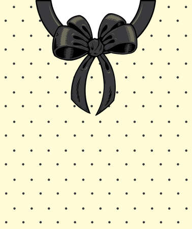 wrap vector: Chic polka dots and ribbon on a shirt detail illustration. Vector format, fully editable Illustration