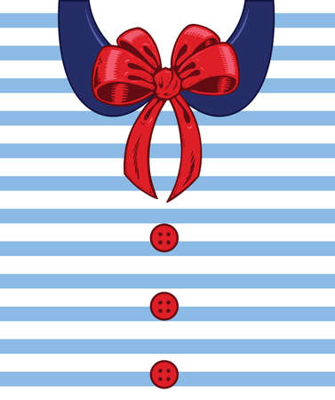 Sailor style ribbon and buttons on a white shirt detail illustration. Vector format fully editable