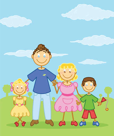 two parent family: Happy family stick figure style illustration. Vector format fully editable