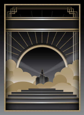art deco background: Art Deco inspired background design with frame and banner elements Illustration