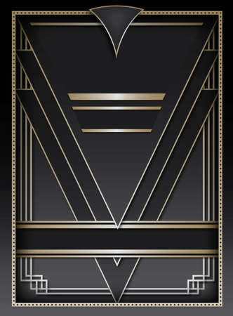 decadence: Art Deco inspired background design with frame and banner elements Illustration