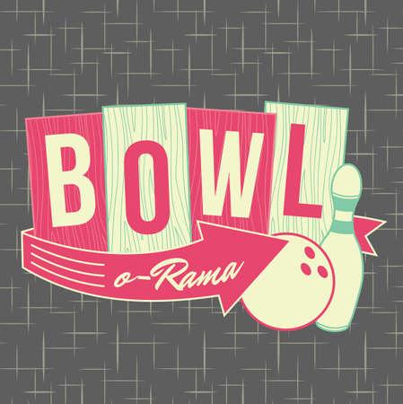 boliche: 1950 Bowling Estilo Logo Design
