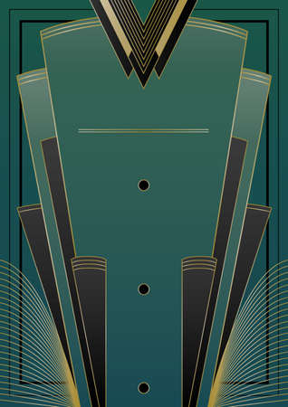 Art Deco inspired design with frame and banner elements Illustration
