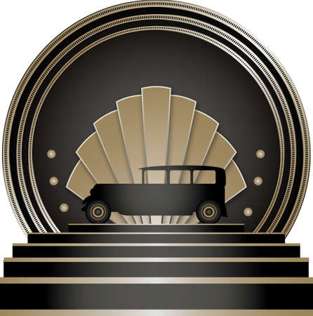 Art Deco Stye Badge with a motoring theme and isolated against a white background Stock Photo