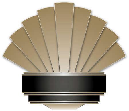art deco: Art Deco Stye Badge isolated against a white background Stock Photo
