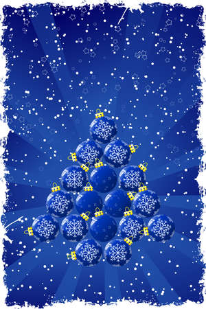 Christmas background with baubles stars and snow photo