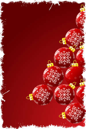Grunge Christmas background with baubles and snowflakes photo