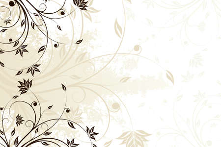 Abstract grunge painted background with floral scroll Illustration