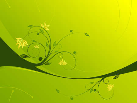 Abstract painted background with floral scroll in green color Vector