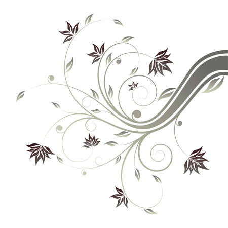 Abstract painted floral scroll isolated on white Vector