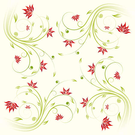 Adstract painted floral scroll pattern on yellow Vector