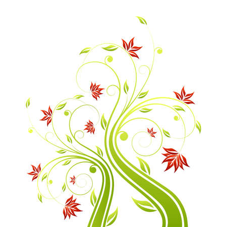 vector clipart: Adstract painted floral scroll isolated on white