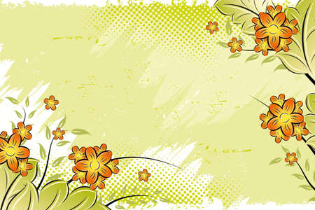Abstract Vector grunge painted floral background image