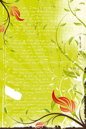 Abstract Vector grunge retro painted floral background Illustration