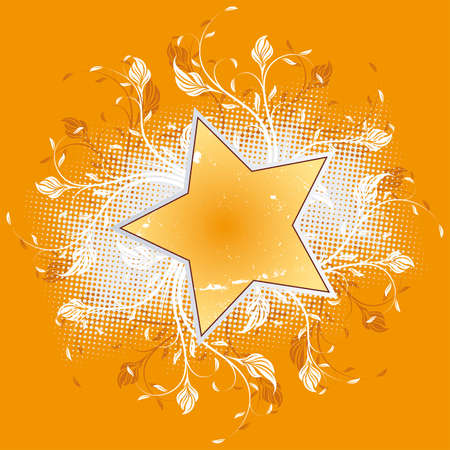 Abstract flowers with star isolated on orange Stock Vector - 3454823
