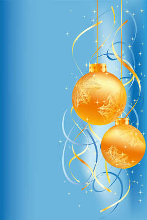 Background with snow and bolls for your design on blue background Vector