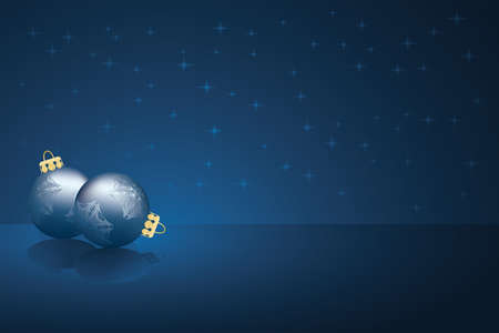 bolls: Background with stars and bolls for your design in dark blue colors Illustration