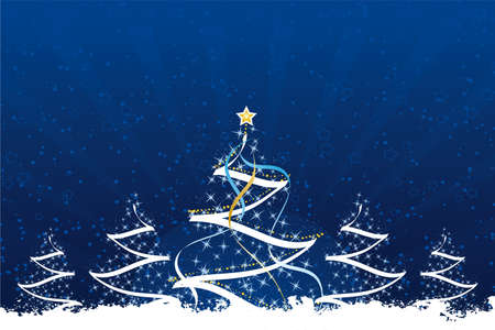 Grunge Christmas trees with stars and decoration in dark blue Vector