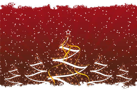 Grunge Christmas trees with stars and decoration in dark Red Vector