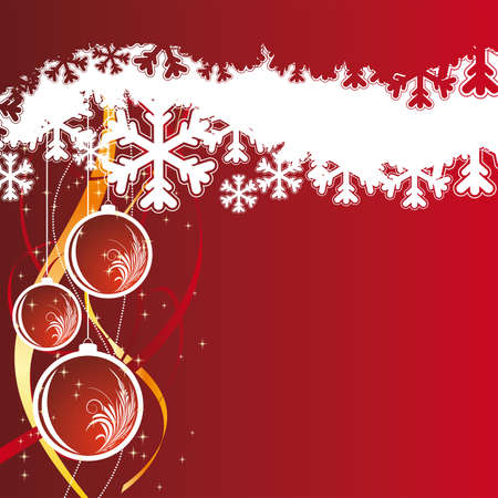 stylization: Background with snowflakes and christmas balls for your design in red color Illustration