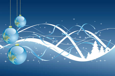 Background with balls christmas tree and decoration for your design in blue color Vector