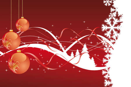 Background with balls christmas tree and decoration for your design in red color Vector
