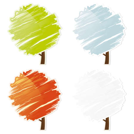 Four color abstract tree icon set isolated on white Vector