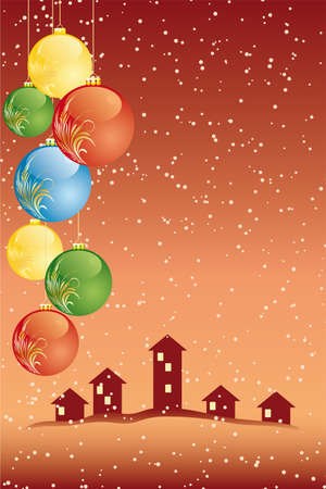 Vector Abstract Christmas Card with houses and balls Vector