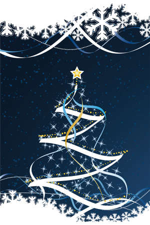Vector Abstract Christmas Card with fir-tree and decoration Vector